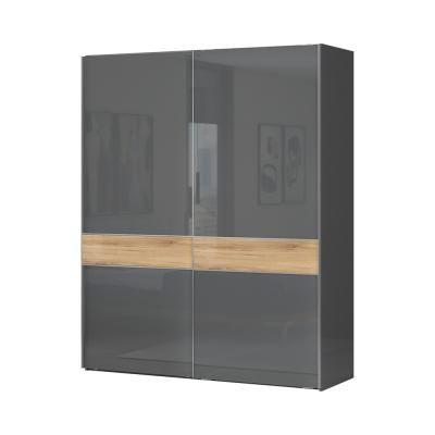 Tolóajtós magasfényű gardróbszekrény, 182x221 cm, antracit-tölgy - BISE